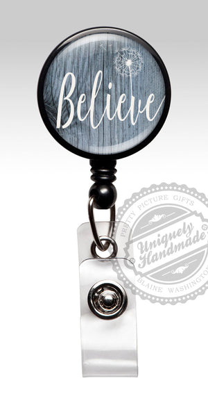 Believe Badge Reel - Retractable Badge Holder Inspirational Dandelion Badge Believe 479