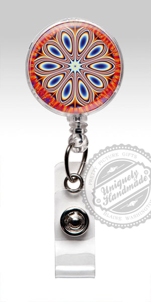 Boho Style Retractable Badge Holder - Red White Blue 4th of July 481