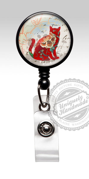 Red Cat Retractable Badge Holder - Cute Cat Nurse Badge Reel or Carabiner 484