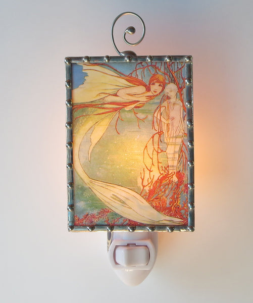 Fancy Handmade Mermaid Night Light by Swanson Glass