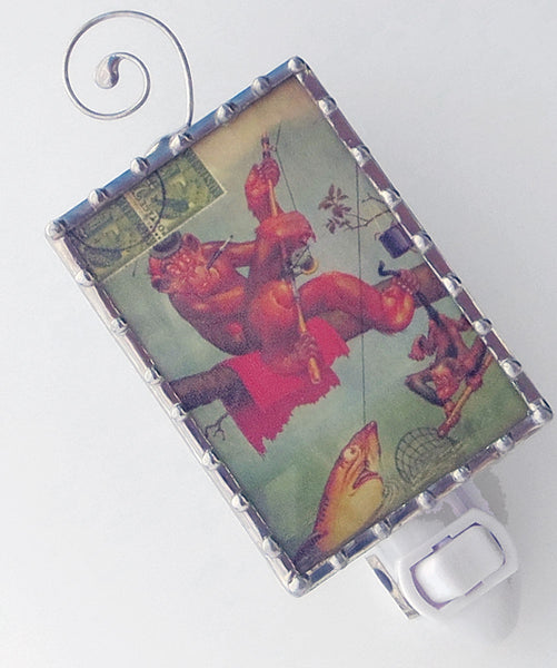 Funny Satire Monkey Night Light by Swanson Glass