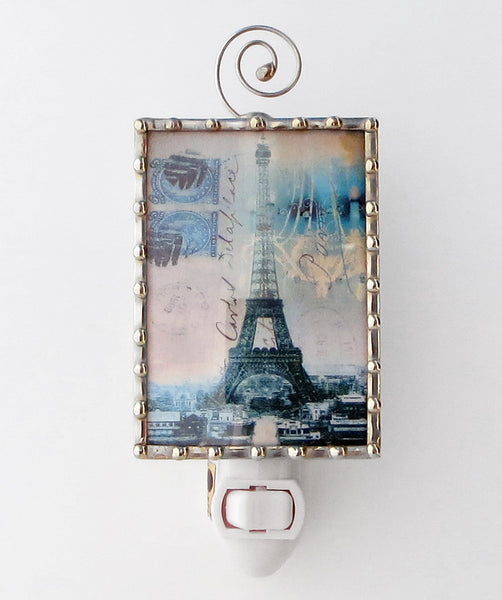 Fancy Blue Eiffel Tower Night Light by Swanson Glass