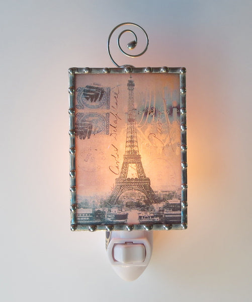 Pretty Blue Eiffel Tower Night Light by Swanson Glass
