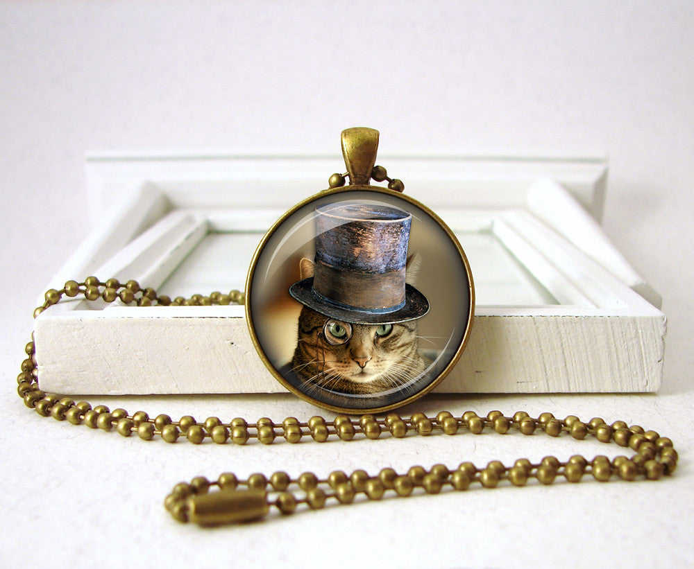 Steampunk Cat Jewelry Cat Pendant Necklace