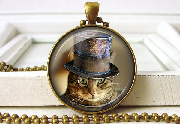 Steampunk Cat Jewelry Cat Pendant Necklace close up