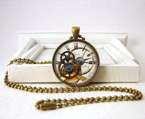 Steampunk Clock Gear Pendant