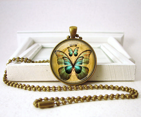 Blue Butterfly Pendant Butterfly Necklace Jewelry