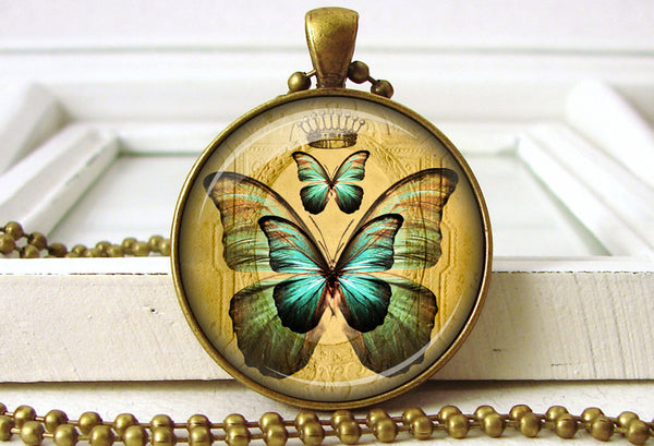 Blue Butterfly Pendant Butterfly Necklace Jewelry close up