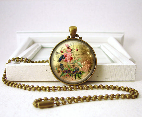 Vintage Butterfly Pink Rose Pendant Necklace Jewelry