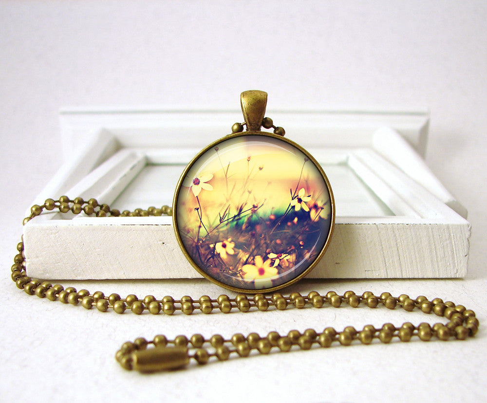 Meadow Flowers Floral Pendant Necklace Jewelry