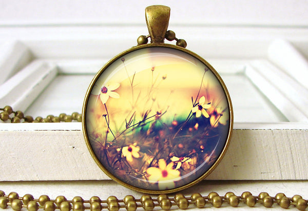 Meadow Flowers Floral Pendant Necklace Jewelry close up
