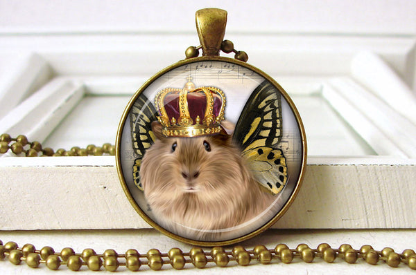 Royal Guinea Pig Jewelry Pendant Pet Jewelry close up