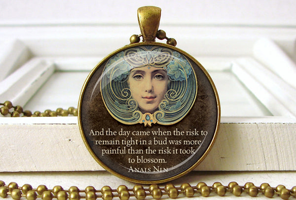 Art Deco Inspirational Quote Pendant Necklace Jewelry