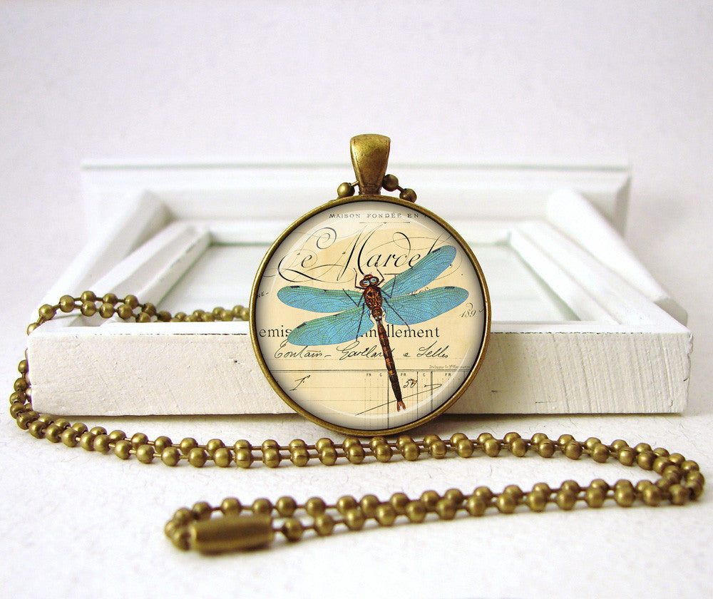 Blue Dragonfly Pendant Necklace Jewelry