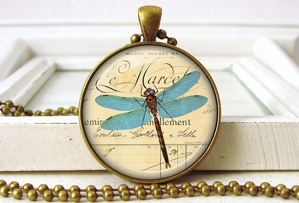 Blue Dragonfly Pendant Necklace Jewelry close up