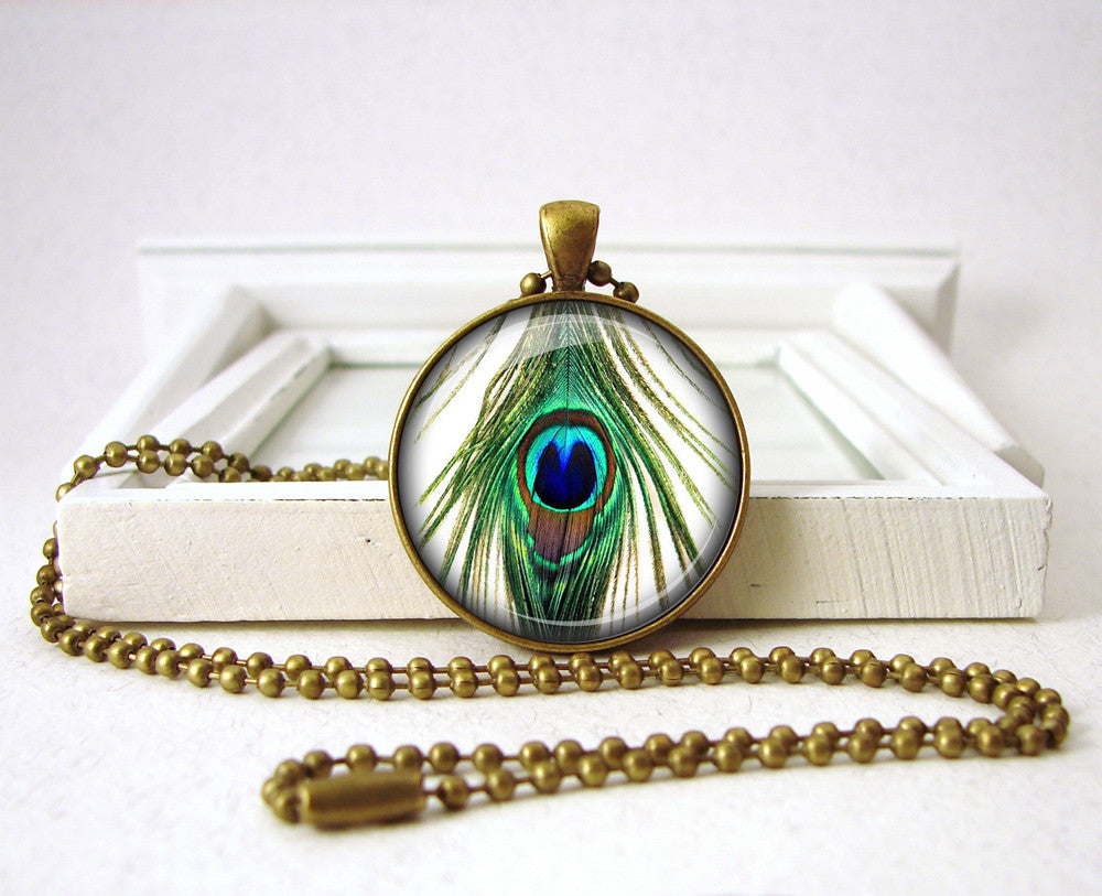 Green Peacock Feather Pendant Jewelry Gift