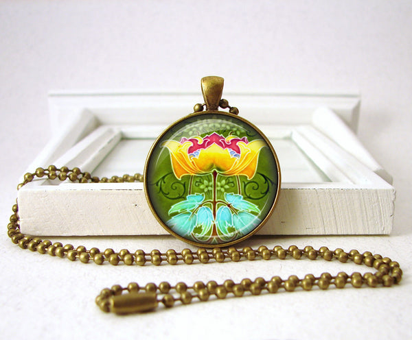 Art Deco Art Nouveau Yellow Red Flower Jewelry Necklace Pendant