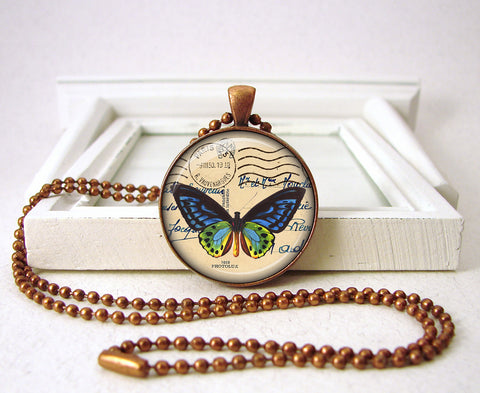 Blue Butterfly Pendant in Brass or Copper Metal