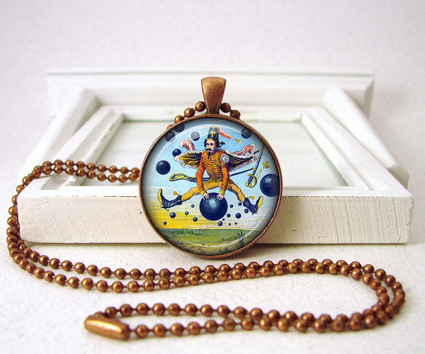 Magic Man with Blue Balls Pendant Necklace Jewelry