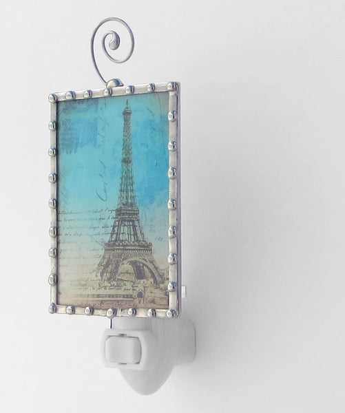 Blue Paris Eiffel Tower Night Light by Pretty Picture Gifts