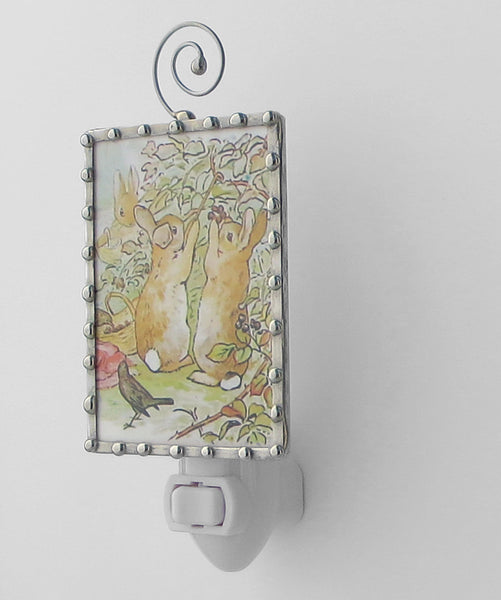 Peter Rabbit and Brother Beatrix Potter handmade Night Light by Pretty Picture Gifts