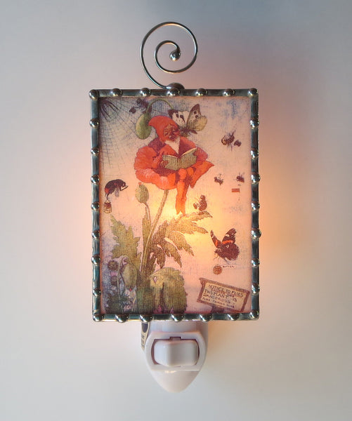 Unique Night Light Poppy Flowers Gnome by Pretty Picture Gifts