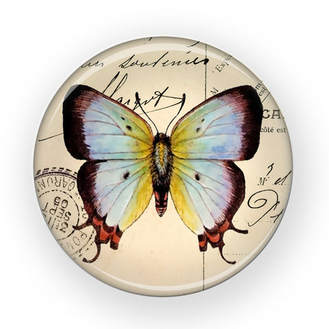 vintage watercolor butterfly compact mirror