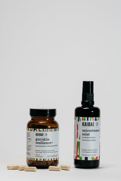 baselayer duo of the gut/skin resilience supplement and the microbiome mist for inside and out skin protection from the sun this summer