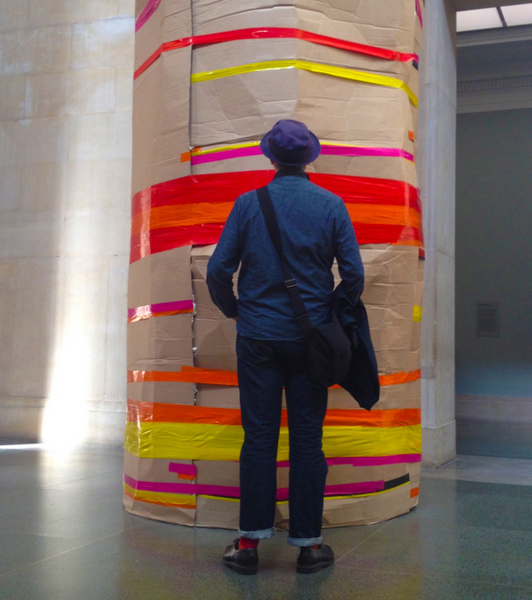 Clive Piercy looking at art at the Los Angeles Museum of Art