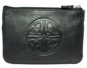 Celtic Leather Coin Purse with RFID Blocking Technology - Black