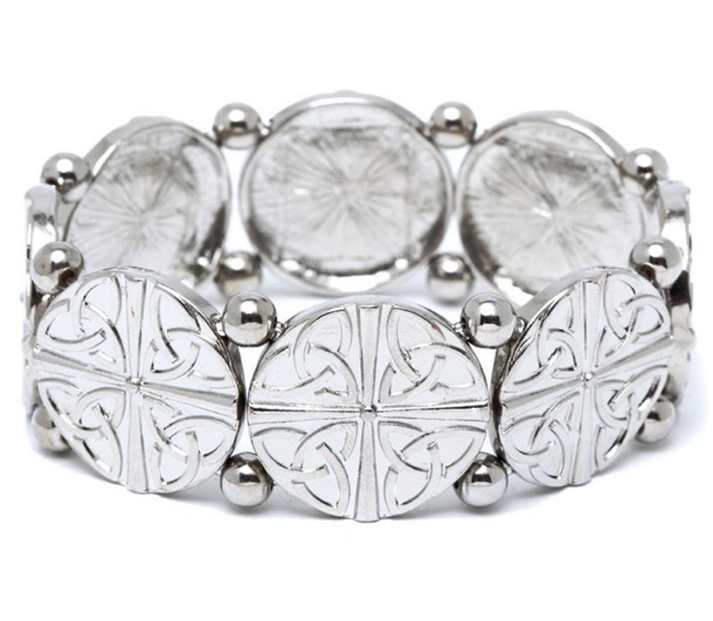 Celtic Quad Trinity Knot Disc Stretch Silvertone Bracelet