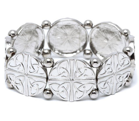 Celtic Quad Trinity Knot Disc Stretch Bracelet