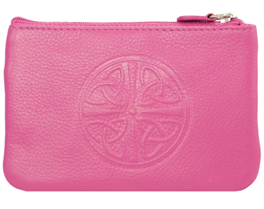 Celtic Leather Coin Purse with RFID Blocking Technology - Hot Pink