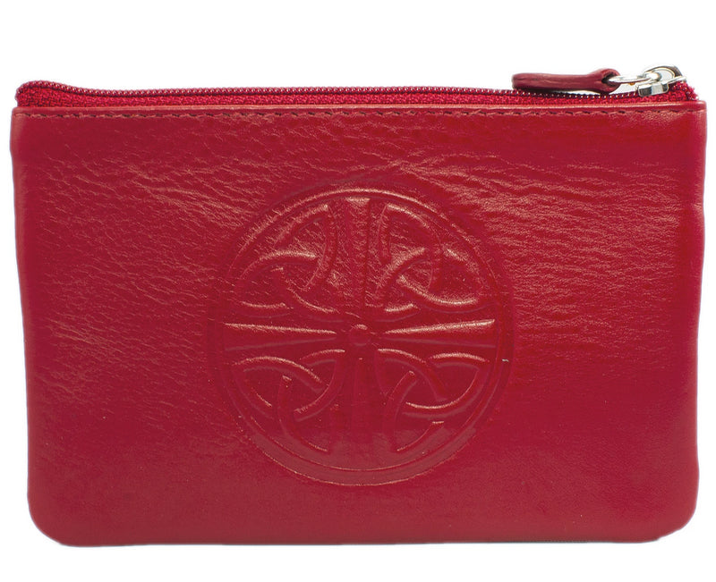 Celtic Leather Coin Purse with RFID Blocking Technology - Red
