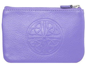 Celtic Leather Coin Purse with RFID Blocking Technology - Amethyst