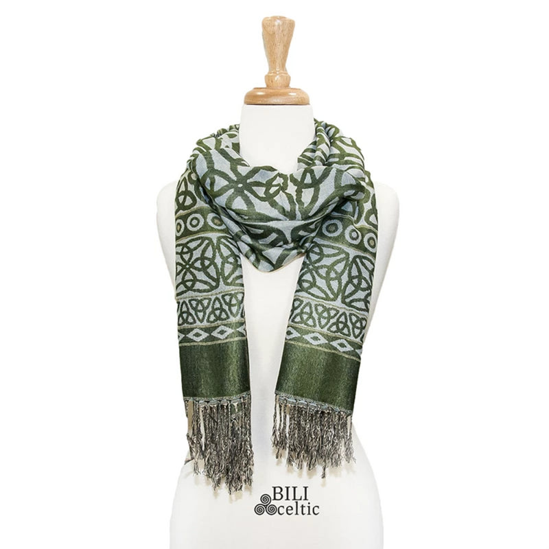 Rita Trinity Knot Pashmina Scarf - Green/Light Blue