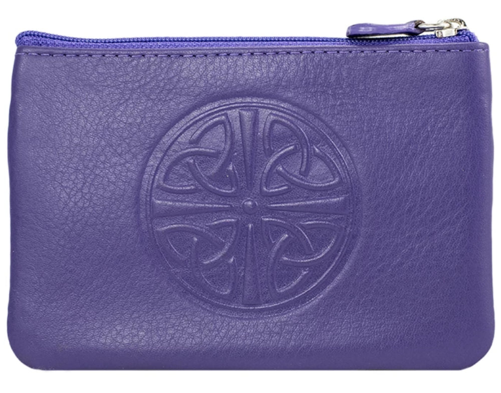 Celtic Leather Coin Purse with RFID Blocking Technology - Purple