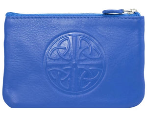 Celtic Leather Coin Purse with RFID Blocking Technology - Cobalt