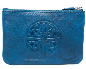 Celtic Leather Coin Purse with RFID Blocking Technology - Jeans Blue