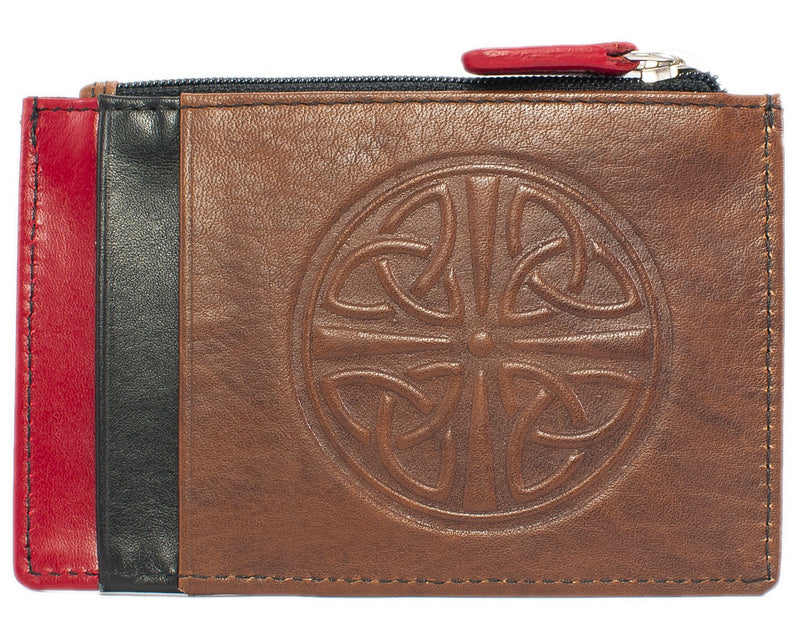 Celtic Leather I.D. Holders with RFID Blocking Technology - Toffee/Red/Black