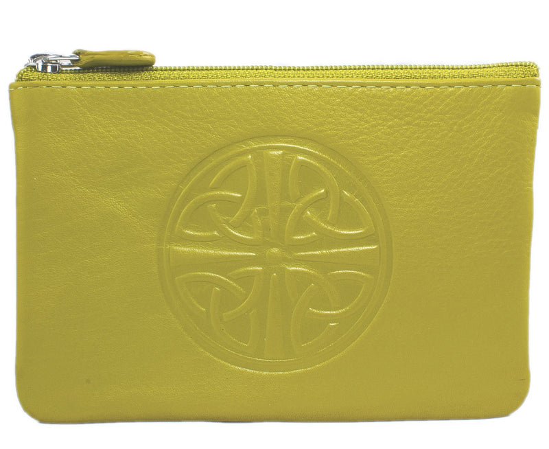 Celtic Leather Coin Purse with RFID Blocking Technology - Moss