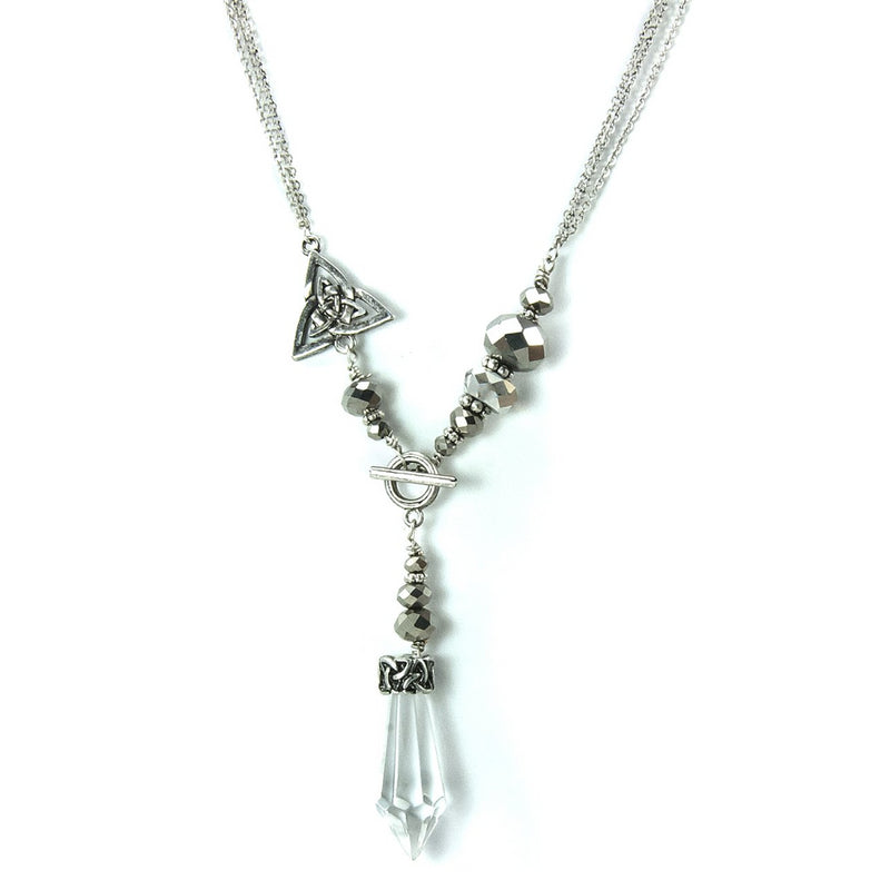 Triple Strand Crystal Pendant Necklace