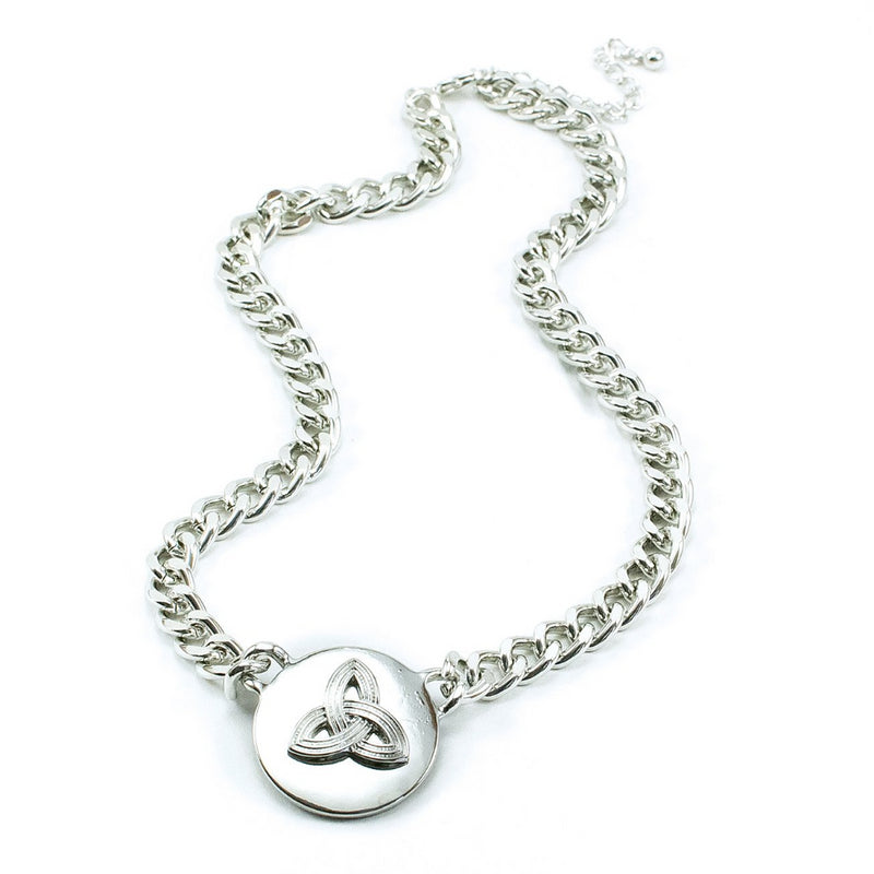 Trinity Knot Silvertone Medallion Necklace