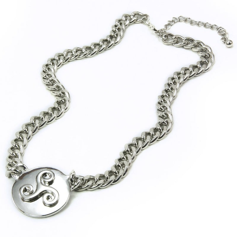 Triskele Silvertone Medallion Necklace