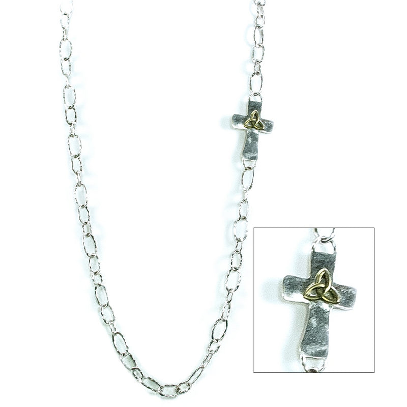 Hammered Cross Chain Necklace Set