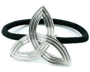 Large Laser Cut Trinity Knot Ponytail Holder - Silvertone