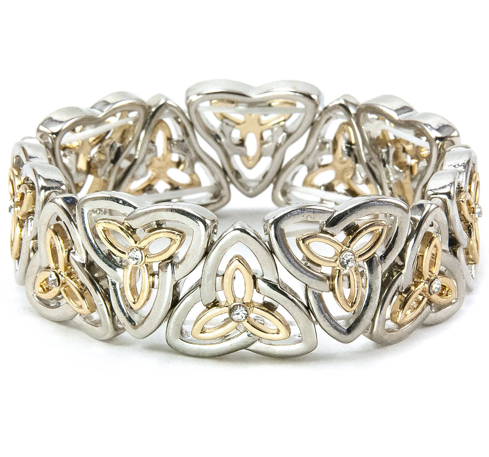 Two-Tone Trinity Knot Stretch Bracelet