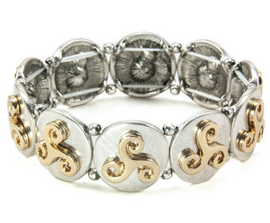 Two-Tone Celtic Triskele Stretch Bracelet