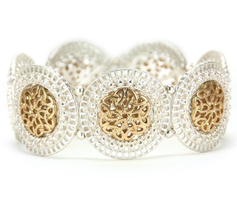 Lace Cut Trinity Knot work Stretch Bracelet - Goldtone on Silvertone