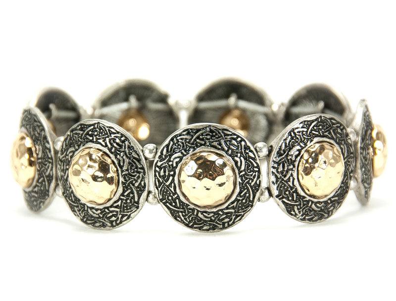 Hammered Two-Tone Celtic Knot Stretch Bracelet